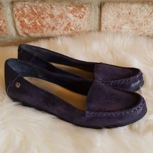 Anne Klein iFlex purple snakeskin leather flats